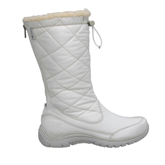 f3c6aaaec6e Ugg Snowpeak Quilted Nylon Leather Zip Boots Tall